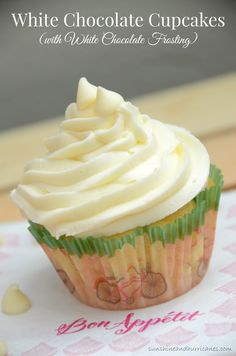 If you are a cupcake lover than you won't be able to resist this delicious cupcake recipe. White Chocolate Cupcakes with White Chocolate Frostings. sunshineandhurricanes.com