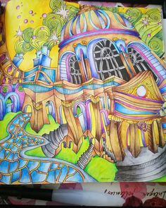 #TheMagicalcity #lizziemarycullen #derwentinktense #pencils #colouring #coloringforgrownups #coloringbookcollection