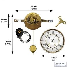 Mechanical Clock Kits - Build a Grandfather Clock with Ease : Clockworks Mechanical Wall Clock, Wall Clock Kits, Clock Repair, Pendulum Clock, Clock Movements, Mantle Clock, Grandfather Clock, Back Plate