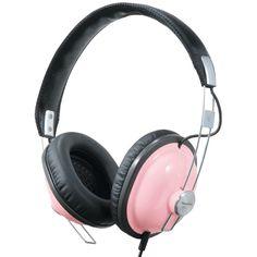 Pink Retro Headphones Stereo Audio Head Ear Phones Old Style Electronics Cell #Panasonic