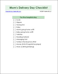 Mom's Delivery Day Checklist