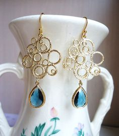 Blue Sapphire Glass and Gold Bubble Earrings by DesignsbyJocelyn, $32.00