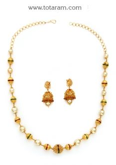 Buy 22K Gold Long Necklace & Drop Earrings Set with Uncut Diamonds - DS659 with a list price of $2,732.99 - 22K Indian Gold Jewelry from Totaram Jewelers