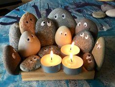 En DIY lyseholder med sten ala 'Barbapapa'
