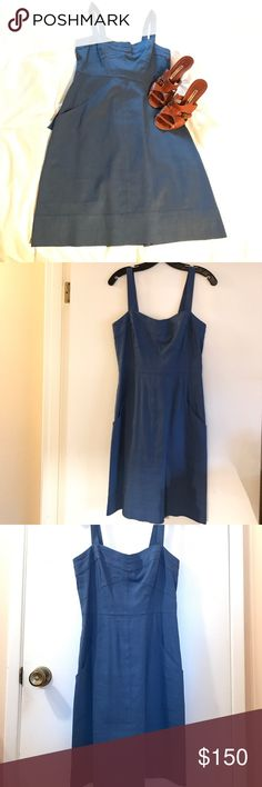 🌺Blue linen Theory sundress Blue linen sundress.  Two front pockets.  Ties in back to adjust fit.  Medium. Theory Dresses