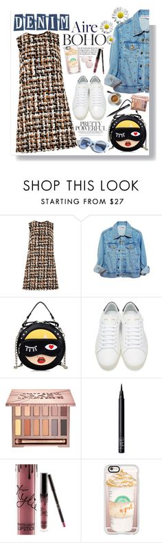 """""""Denim Trend: Jean Jacket"""" by fashionfreakforlife ❤ liked on Polyvore featuring Dolce&Gabbana, High Heels Suicide, Yves Saint Laurent, Pinko, Urban Decay, NARS Cosmetics, Kylie Cosmetics, Casetify, Fall and denim"""
