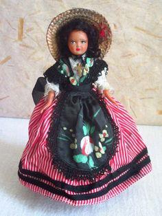 French Celluloid Provence Nice costume doll, folk doll, vintage, s.n.f., France, vintagefr by plastickingdom on Etsy https://www.etsy.com/listing/190863478/french-celluloid-provence-nice-costume