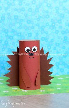 ▷ 1001 + ideas for tinkering with toilet rolls to imitate- ▷ 1001 + Ideen für Basteln mit Klorollen zum Nachmachen a brown hedgehog with a funny expression, toys for children, handicrafts with toilet rolls - Animal Crafts For Kids, Summer Crafts For Kids, Halloween Crafts For Kids, Kids Crafts, Easy Crafts, Christmas Crafts, Arts And Crafts, Wood Crafts, Autumn Crafts