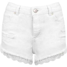 Miss Selfridge White Lace Trim Denim Short (59 BRL) ❤ liked on Polyvore featuring shorts, bottoms, pants, white, white shorts, white ripped shorts, white distressed shorts, distressed denim shorts and short jean shorts