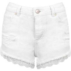 Miss Selfridge White Lace Trim Denim Short (60 PEN) ❤ liked on Polyvore featuring shorts, white, cotton shorts, ripped jean shorts, denim short shorts, destroyed shorts and white cotton shorts