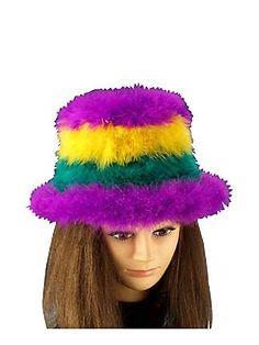 Mardi Gras Tri Color Marabou Hat | Wholesale Halloween Mardi Gras one of our Accessories & Makeup