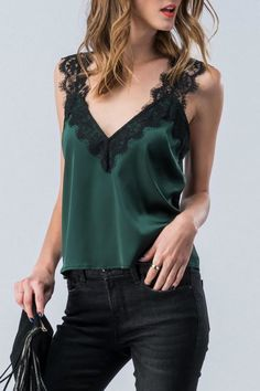 Trend:notes Lace Trimmed Camisole from Michigan by Glitz & Spurs — Shoptiques Camisole Outfit, Lace Camisole, Mode Outfits, Vegas Outfits, Party Outfits, Club Outfits, Night Outfits, 21st Birthday Outfits, Birthday Dresses