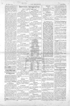 La Opinión (Santa Cruz de Tenerife)-28 de julio 1914. Página 2: se reproducen informaciones telegráficas sobre la las primeras noticias del conflicto europeo.