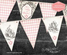 Pink Alice in Wonderland Tea Party Bunting Flags - Bridal Tea - Baby Shower - Kitchen Tea - High Tea - Birthday Tea party. Printable.