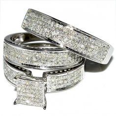 4569a8e93a0ba His and Her Trio Wedding Rings Set 1ct w Diamonds 10K White gold Princess  Cut style