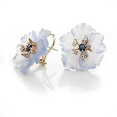 Russell Trusso 18k Carved Chalcedony Flower Earrings, Sapphire, 0.26ctw, White round brilliant cut diamonds, 0.40ctw.