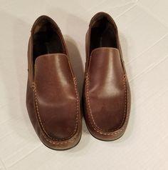 ROCKPORT Mens sz 10M K51145 CAPE NOBLE DARK BROWN Leather Slip On Loafers #Rockport #LoafersSlipOns