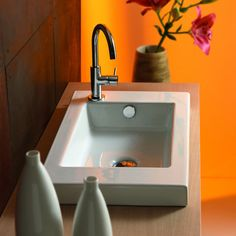 Tecla 3503011 Serie 35 24 x 14 Inch Rectangular White Ceramic Wall Mounted or Built-In Sink