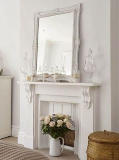 Best No Cost fake Fireplace Mantels Popular – Rebel Without Applause Unused Fireplace, Bedroom Fireplace, Shabby Chic Fireplace, Fireplace Mirror, Empty Fireplace Ideas, Vintage Fireplace, Decorative Fireplace, Small Fireplace, Modern Fireplace