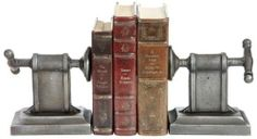 Grip your books in uncommon style with these industrial-inspired, cast-iron bookends. Industrial Bookends, Industrial House, Rustic Industrial, Industrial Design, Industrial Bedroom, Industrial Furniture, Cast Iron, Furniture