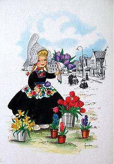 Postcard - Dutch girl selling flowers