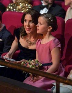 Crown Princess Mary and her daughter Princess Isabella of Denmark attends a Gala Night to mark the forthcoming 75th Birthday of Queen Margrethe II of Denmark at Aarhus Concert Hall on 08.04.2015