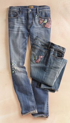 Audrey Bluebird Jeans - Whiskered, slightly faded and distressed, with a sweet bluebird of happiness embroidered on front and back pockets. By Driftwood.