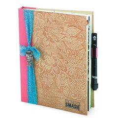Boho Chic SMASH™ Scrapbook...use any color smashbook and rub a brown crayon or colored pencil over the raised cover. Tie a turquoise lace ribbon around the front cover with or w/out a charm. Love this look!