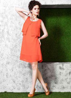 Shipshape Orange Polyester Georgette Kurtis