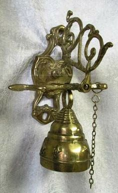 Hanging Brass Bell Wall Mount w / Pull Chain