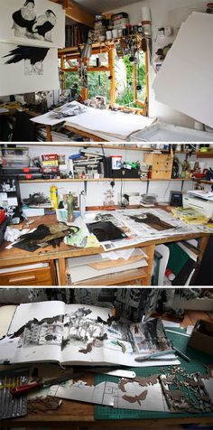 Printmaker Sue Brown's studio http://suebrownprintmaker.blogspot.ca/2014_07_01_archive.html
