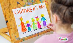 Happy Children Day Easy Drawing For Kids ⋆ BelarabyApps Easy Doodles Drawings, Easy Drawings For Kids, Simple Doodles, Drawing For Kids, Art For Kids, Happy Children's Day, Happy Kids, Cool Coloring Pages, Coloring Pages For Kids