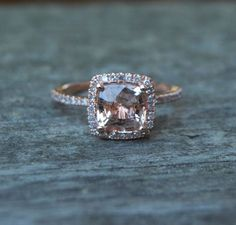 Square Cushion Peach Champagne Sapphire 14k rose gold diamond Engagement Ring. $1,500.00, via Etsy.