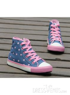 US$42.99 Stylish Polk Dots Princess Girl Lace Up Girls Canvas Shoes. #Sneakers #Princess #Girls #Lace
