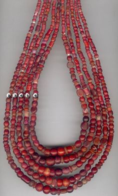 Antique Venetian Red Glass bead collections from ATB
