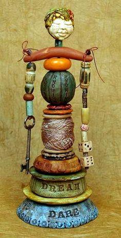 Art Doll totem - idea for ceramic totem