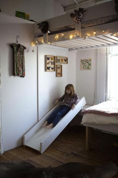 Sliding Bed in the Children's Room from 15 Radical Kids' Climbing and Sliding Spaces