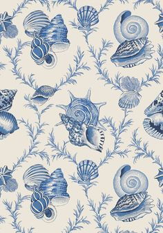 Botanically accurate #shells have been painted with an expert eye in Sumba Shell, from the Biscayne collection. #Thibaut