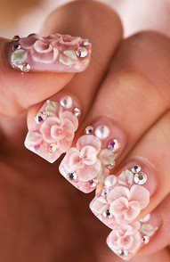 Nails fit for a princess.  It's too much on every nail, but would be pretty on just the ring finger.