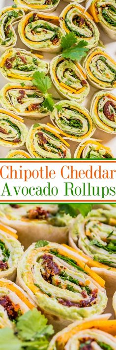 Chipotle Cheddar Avocado Rollups - Creamy avocado with sharp cheddar, cilantro, and a little bit of smoky chipotle heat! Easy, ready in 5 minutes, and everyone loves these! Great appetizer and a gameday party favorite!!