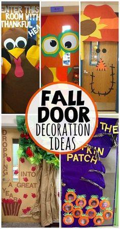 Fall Door Decoration Ideas for the Classroom #Bulletinboards | CraftyMorning.com