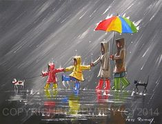 Welcome to the rainy day art page. This page is dedicated to romantic couples walking in the rain paintings by Pete Rumney and others. Couple Painting, Rain Painting, Rainy Day Drawing, Umbrella Art, Office Art, Art Pages, Painting Inspiration, Watercolor Art, Art Drawings