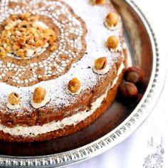 Flourless hazelnut cake with coffee cream (Polish, but translates well)