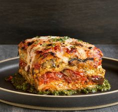 Grilled Garden Vegetable Lasagna with Puttanesca Sauce from Crossroads by Tal Ronnen - Bake and Destroy Use gluten free lasagna noodles. # vegan