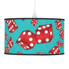 Fun turquoise dice pattern pendant lamp
