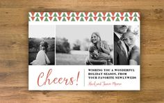 Cheers Holiday Card Printable Christmas Card Happy New by EllaVine