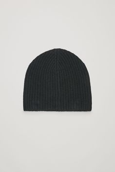 433719aac5d  50 COS image 1 of Ribbed cashmere hat in Black Cashmere Hat