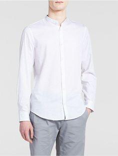 Calvin Klein Classic Fit Band Collar Camo Shirt