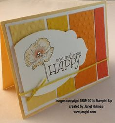 Stampin' Up! Happy Watercolor, Decorative Dots embossing folder; Jan Girl - great layout  & colours