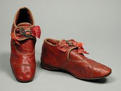 Children's red leather shoes made between 1885 and 1895.